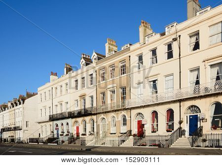 WEYMOUTH, UNITED KINGDOM - JULY 19, 2016 - Row of guesthouses along the Esplanade promenade Weymouth Dorset England UK Western Europe, July 19, 2016.