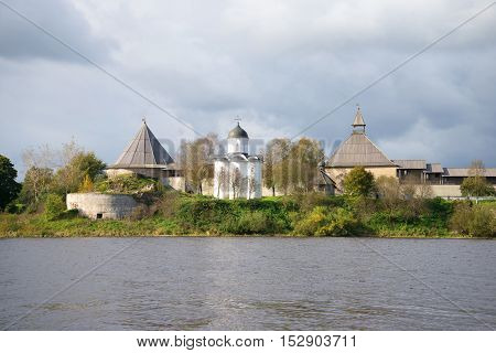 View of the medieval church of St. George in Staraya Ladoga fortress, cloudy september day. Leningrad region, Russia