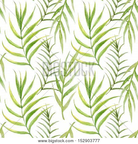 Beautiful pattern with hand drawn watercolor tropical palm leaves