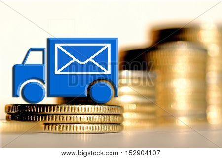 The mail truck in the background of the money .