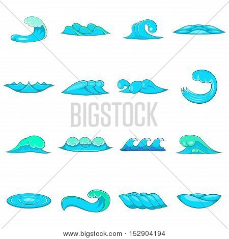 Waves icons set. Cartoon illustration of 16 waves vector icons for web