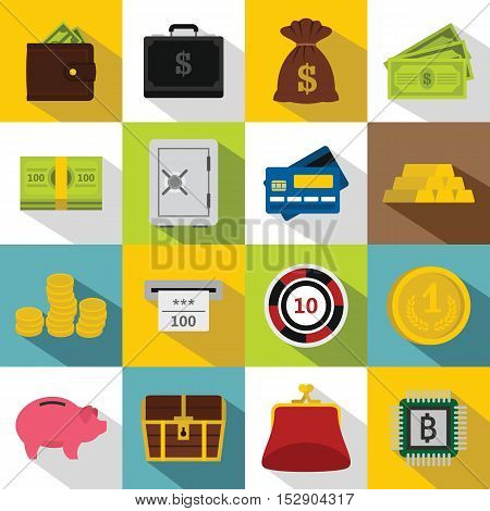 Different money icons set. Flat illustration of 16 different money vector icons for web
