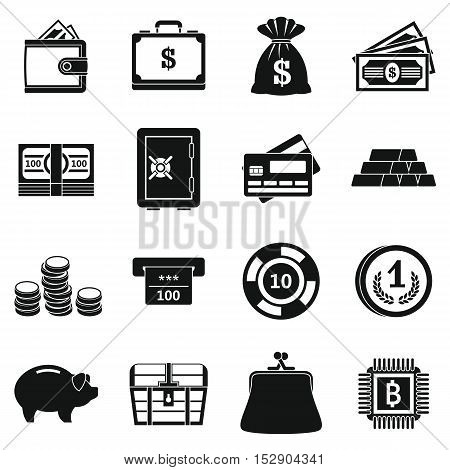 Different money icons set. Simple illustration of 16 different money vector icons for web