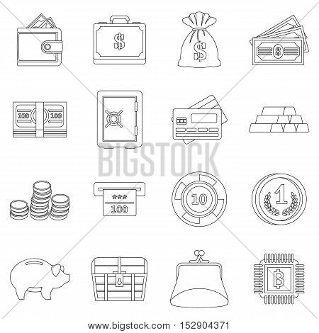 Different money icons set. Outline illustration of 16 different money vector icons for web