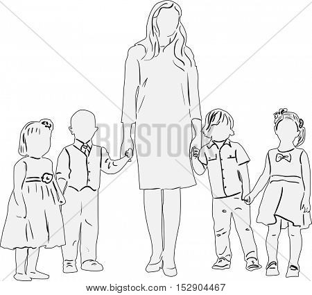 illustration with children and woman sketch isolated on white background