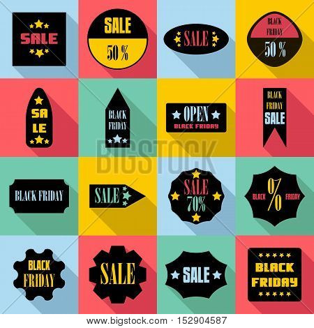 Black Friday Sales signs icons set. Flat illustration of 16 Black Friday Sales signs vector icons for web