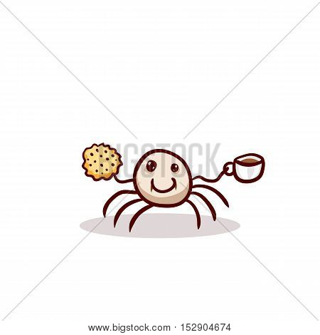 Happy vampire spider with coffee and cookie. Halloween clip-art, isolated on white. Hand drawn cartoon sketchy icon, design element for halloween party invitation card, sticker, greeting card