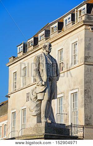 WEYMOUTH, UNITED KINGDOM - JULY 19, 2016 - Statue of Henry Edwards MP along the Esplanade Weymouth Dorset England UK Western Europe, July 19, 2016.