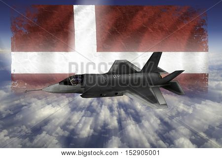 F-35 Modern Stealth Flighter With Flag Of Norway