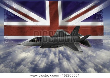 F-35 Modern Stealth Flighter With Flag Of Uk