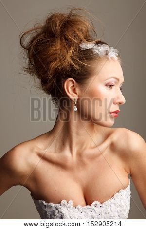 Brides profile with fashion hairstyle studio shoot