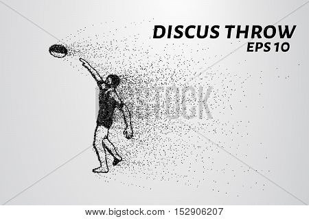 Discus throw of particles. The athlete throws the disc. Discus consists of circles and points. Vector illustration