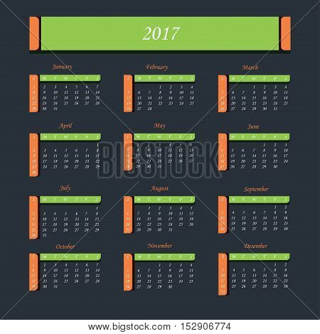 Calendar for 2017 Year.  Week starts from Sunday. Vector illustration.
