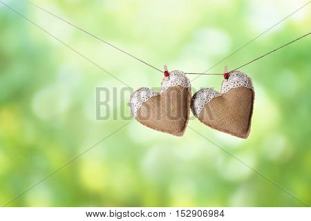 Two hearts hanging on rope against blurred green background.
