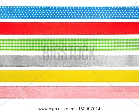 Set of colorful festive ribbons on white background.