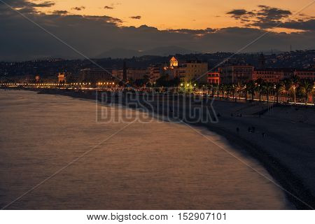 Nice, France: beautiful night view of the old town and the Promenade des Anglais
