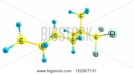Dimethylhexane is a branched alkane used in the aviation industry. It is moderately toxic. 3d illustration