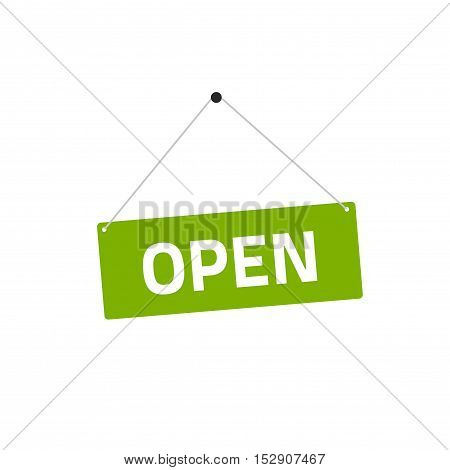 Open sing vector illustration, flat style signboard hanging with open text isolated