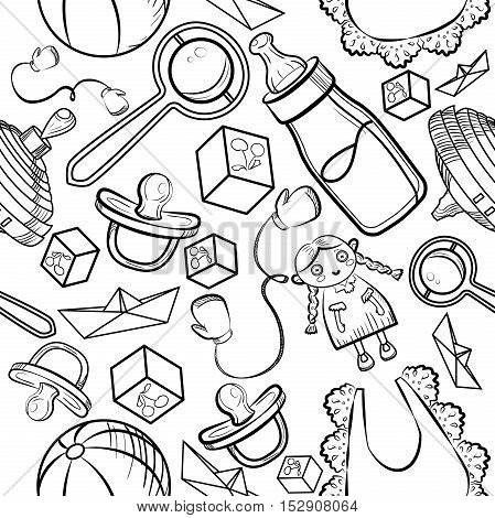 Baby Shower Elements Pattern on a white background. Vector illustration, EPS 10