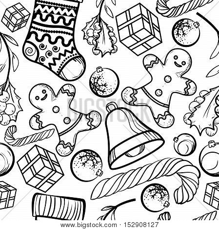 Pattern of Christmas symbols, toy, icons, elements and decoration