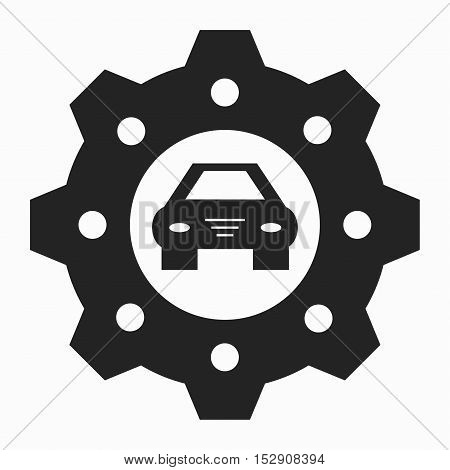 car and gear is isolated black symbol