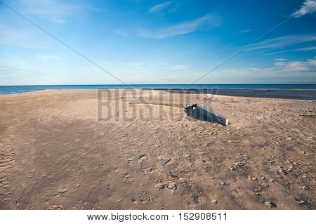 Baltic Sea Coastline-Seaside in Kolka Cape, Gulf of Riga, Latvia. The Baltic Sea is a sea of the Atlantic Ocean, enclosed by Scandinavia, Finland, the Baltic countries, and the North European Plain.