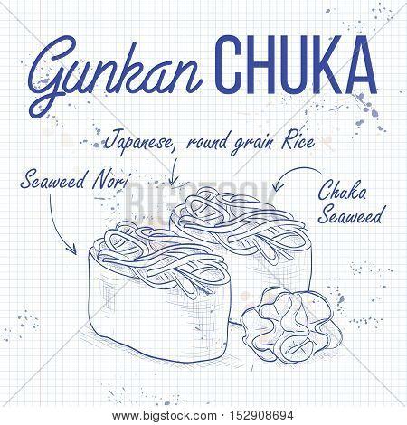 Vector sushi sketch, Gunkan Chuka on a notebook page