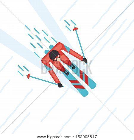 Mountain ski. Top view of a skier. Cartoon illustartion