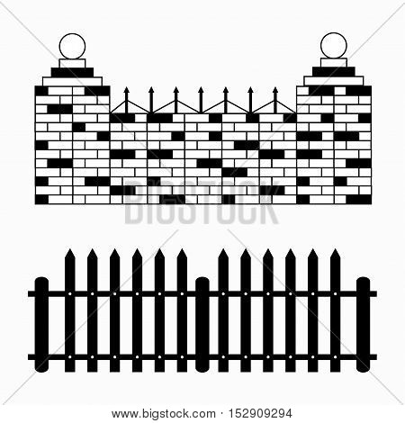 monochrome fences collection of symbols vector illustration abstract high quality