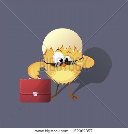 chicken in the eggshell with a briefcase and bespectacled. Vector illustration. Funny character.