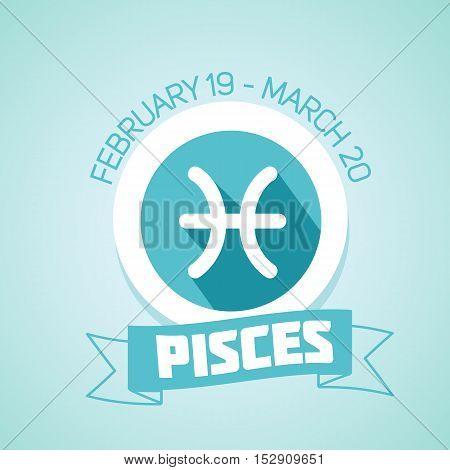 Pisces zodiac sign in circular frame vector Illustration. Contour icon.