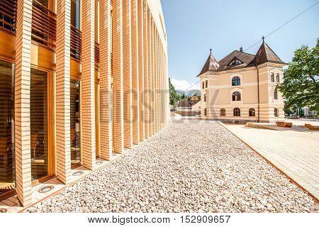 Vaduz, Liechtenstein - July 01, 2016: Parliament and government building in Vaduz city, Liechtenstein.