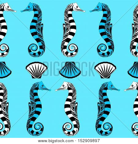 Watercolor seahorse and shell seamless vector illustration.