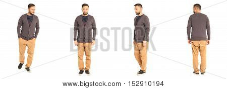 A Man Stand In Brown Pants Isolated On White Background