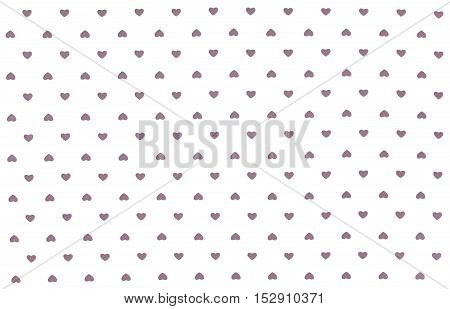 White Fabric cloth with grey hearts pattern, texture, background, retro style. Place your text or design.