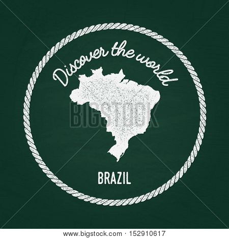 White Chalk Texture Vintage Insignia With Federative Republic Of Brazil Map On A Green Blackboard. G