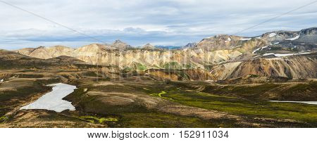 Beautiful multicolored mountains at Landmannalaugar, Iceland. Panoramic photo