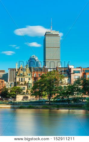 Boston, MA - July 2016, USA: Prudential Tower skyscraper and historical buildings in Back Bay, view from Charles River (Storrow Lagoon)