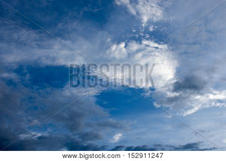 The beautiful blue sky with white and dark cloud