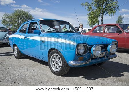 KERIMYAKI, FINLAND - JUNE 06, 2015: Ford Escort the first generation in the sport version of Mexico 1600GT at the parade of vintage cars
