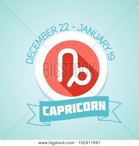 Capricorn zodiac sign in circular frame vector Illustration. Contour icon.