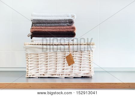 Pile Color Pure Towels Lies Wattled Basket Table