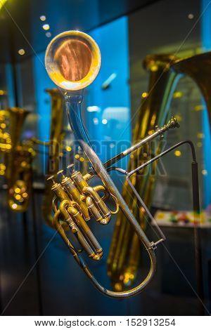Closeup photo of a golden colored sax