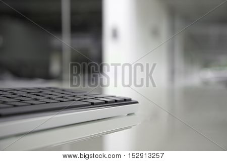 computer keyboard with empty space background in black and white tone