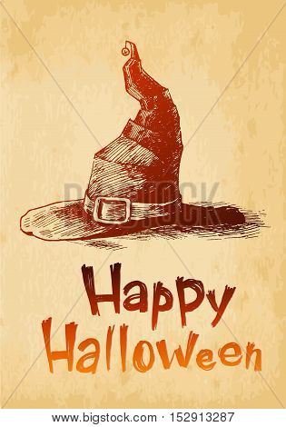 Happy Halloween witsh hat drawn in a sketch style.