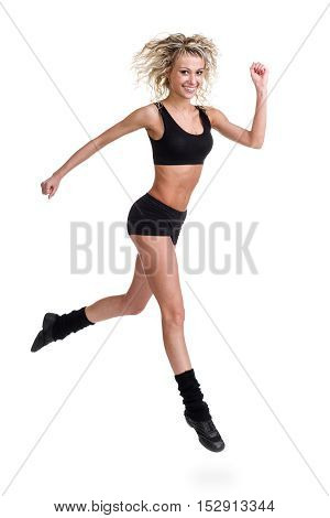 Aerobics fitness woman instructor jumping, isolated in full body. Energetic fit female model.