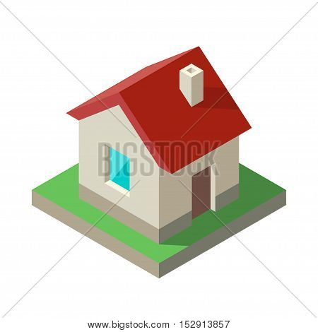 Isometric House Icon logo. Vector illustration Solid colors