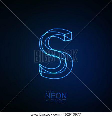 Neon 3D letter S. Typographic element. Part of glow neon alphabet. Vector illustration