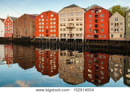 Colorful Houses In Old Town Of Trondheim