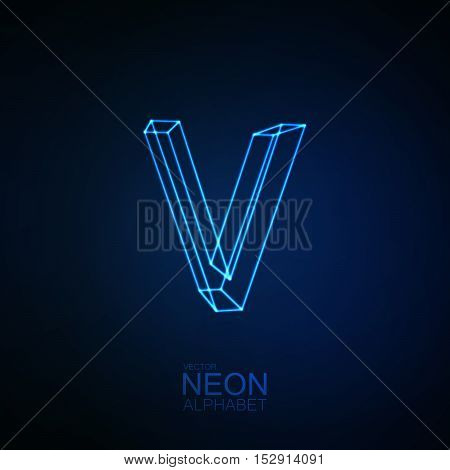 Neon 3D letter V. Typographic element. Part of glow neon alphabet. Vector illustration
